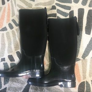 Coach tall black rain boots